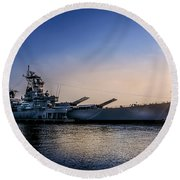 Round Beach Towel featuring the photograph Battleship New Jersey by Marvin Spates