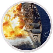 Battleship Uss Iowa Firing Its Mark 7 Round Beach Towel