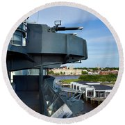 Battleship View Of Wilmington Nc Round Beach Towel by Denis Lemay