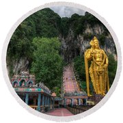 Batu Caves Round Beach Towel