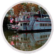 Round Beach Towel featuring the photograph Bavarian Belle Riverboat by LeeAnn McLaneGoetz McLaneGoetzStudioLLCcom
