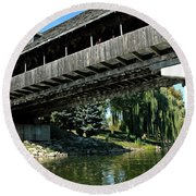 Round Beach Towel featuring the photograph Bavarian Covered Bridge by LeeAnn McLaneGoetz McLaneGoetzStudioLLCcom