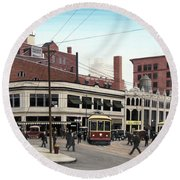 Round Beach Towel featuring the painting Bay And Queen Streets C1940 by Kenneth M Kirsch