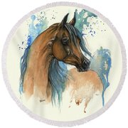 Bay Arabian Horse With Blue Mane Round Beach Towel