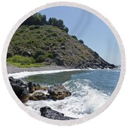 Round Beach Towel featuring the photograph Bay Below The Salobrena Hotel - Costa Tropical by Phil Banks