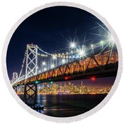 Bay Bridge And San Francisco By Night 5 Round Beach Towel