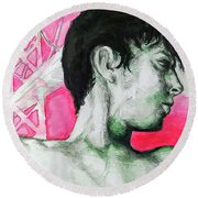 Round Beach Towel featuring the painting Bay Bridge Anf Figure In Red by Rene Capone