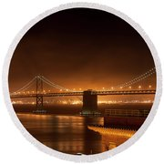 Bay Bridge At Night Round Beach Towel