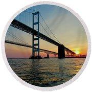 Bay Bridge At Sunset  Round Beach Towel