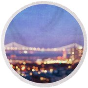 Bay Bridge Glow - San Francisco, California Round Beach Towel