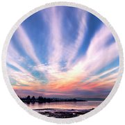 Bay Farm Island Sunrise Round Beach Towel