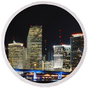 Bay Front Miami Skyline Round Beach Towel
