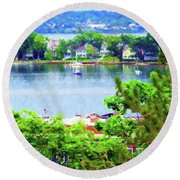 Bay Harbor Round Beach Towel by Desiree Paquette