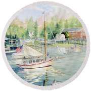 Bay Lady  Round Beach Towel by Melly Terpening