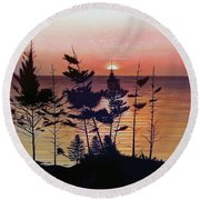 Bay Of Fundy Sunset Round Beach Towel