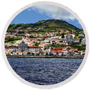 Bay Of Horta Round Beach Towel