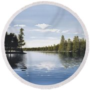Bay On Lake Muskoka Round Beach Towel