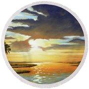 Bay Sunset Round Beach Towel by Rick McKinney