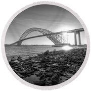 Bayonne Bridge Black And White Round Beach Towel by Michael Ver Sprill
