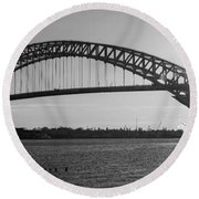 Bayonne Bridge Panorama Bw Round Beach Towel by Michael Ver Sprill