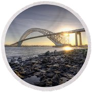 Bayonne Bridge Sunset Round Beach Towel