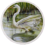 Bayou Caddy Great Egret Round Beach Towel