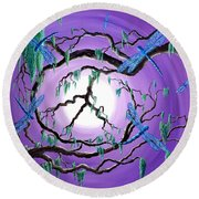 Bayou Peace Tree Round Beach Towel by Laura Iverson
