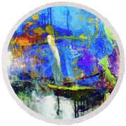 Round Beach Towel featuring the painting Bayou Teche by Dominic Piperata