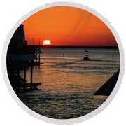 Bayou Vista Sunset Round Beach Towel