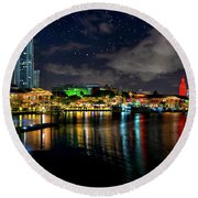 Round Beach Towel featuring the photograph Bayside Miami Florida At Night Under The Stars by Justin Kelefas
