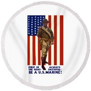 Be A Us Marine Round Beach Towel