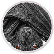 Be Afraid  Round Beach Towel