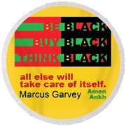 Be Black Rbg Round Beach Towel