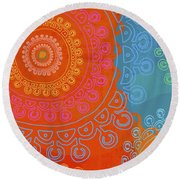 Round Beach Towel featuring the painting Be Exactly Who You Are by Lisa Weedn