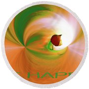 Be Happy, Green-orange With Physalis Round Beach Towel