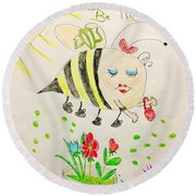 Be Mine Bumblebee Round Beach Towel