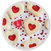 Round Beach Towel featuring the photograph Be Mine Heart Cookies by Teri Virbickis