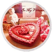 Be My Valentine Round Beach Towel
