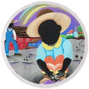 Be Present In The Moment Round Beach Towel