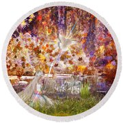 Round Beach Towel featuring the digital art Be Still And Know by Dolores Develde