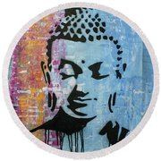 Round Beach Towel featuring the painting Be Where You Are by Jayime Jean
