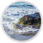 Wave Around A Rock Round Beach Towel