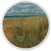 Beach And Clouds Round Beach Towel