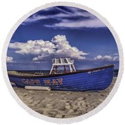 Beach And Lifeboat Round Beach Towel