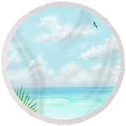 Beach And Palms Round Beach Towel