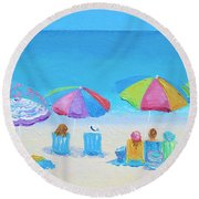 Beach Art - A Golden Day Round Beach Towel