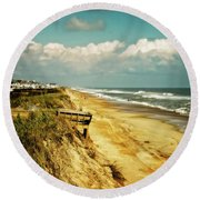 Beach At Corolla Round Beach Towel