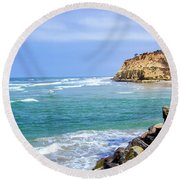 Beach At Del Mar, California Round Beach Towel