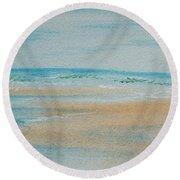 Beach At High Tide Round Beach Towel