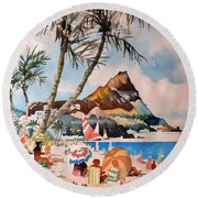 Beach At Honululu, Hawai Round Beach Towel
